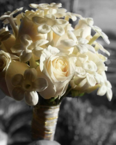 Champagne Roses & Stephanotis Bridal Bouquet