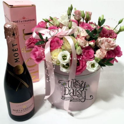 Champgne and Boxed Flowers Gift Baskets