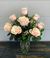 Dozen Light Pink Roses Vase Arrangement