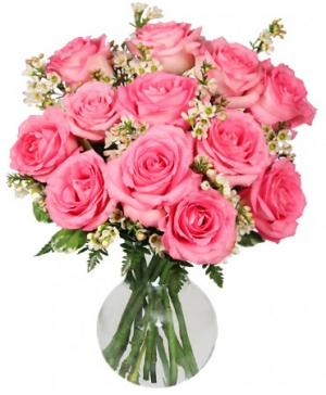 Chantilly Pink Roses Arrangement in Benbrook, TX | BENBROOK FLORAL LLC.