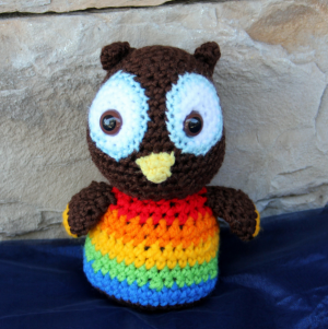 Charlie the Rainbow Owl Grandma's Crochet Plush in Woodinville, WA | Woodinville Florist®