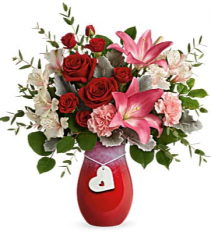 Charmed in love bouquet Teleflora heart vase