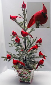Charming Cardinal Artificial Mini Tree