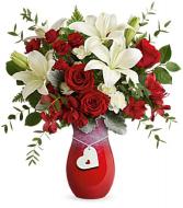 Charming Heart Bouquet Vase Arrangement