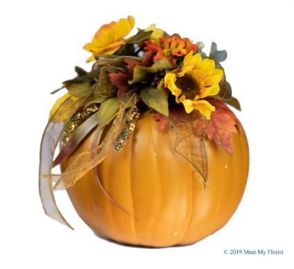 Charming Pumpkin Silk Floral Arrangement