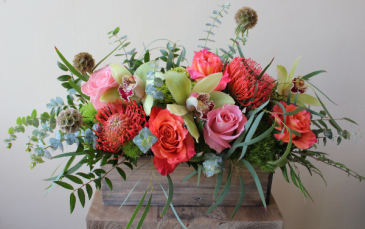 Charming wooden box arrangement