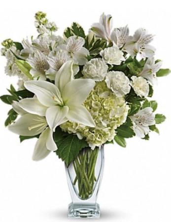 Chartreuse and White Vase Arrangement  Vase