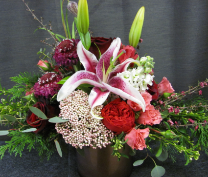 Checkered Lily Romance Vase