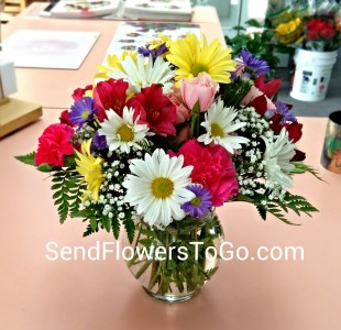 Cheerful Blossoms Vase Arrangement In Colorado Springs Co Flowers