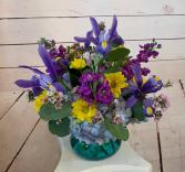 Cheerful Blues Short Vase Arrangement