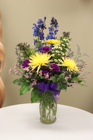 Cheerful Days Bouquet in Williams Lake, BC   THE PURPLE PANSY