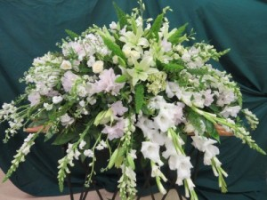 Cheerful Memories Fresh Casket Arrangement in Farmville, VA | CARTERS FLOWER SHOP