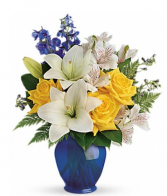 Cheerful mixed flowers  Vase