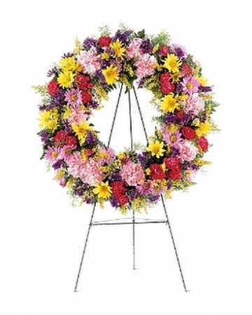 Cheerful mixed sympathy wreath Funeral tribute