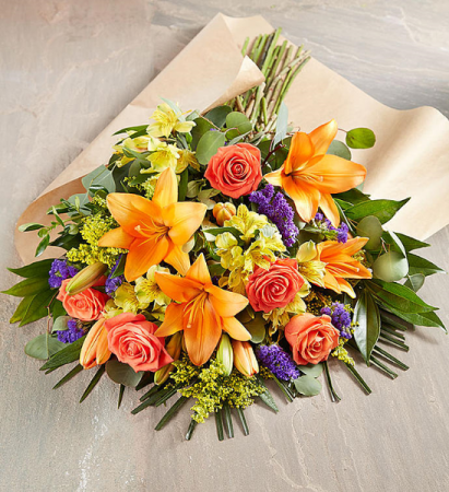 Cheerful orange and yellow  Hand tied bouquet
