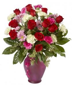 Cheerful Rose Bouquet Vase Arrangement