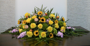 Cheerful Sorrow Casket Spray in Boca Raton, FL | Flowers of Boca