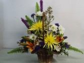 cheerful spring basket arrangment