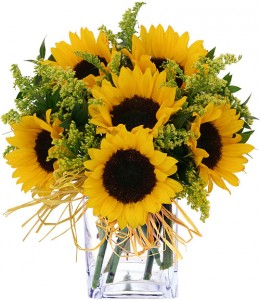 Cheerful Sunflowers Vase in Vernon, NJ | HIGHLAND FLOWERS