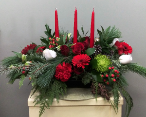 Classic Christmas  Flowers Centerpiece in Mount Pleasant, SC | BELVA'S FLOWER SHOP