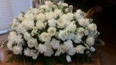 CHERISHED LOVING MEMORIES All White Casket Arrangement