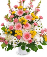CHERISHED MEMORIES- PINK & WHITE FUNERAL BASKET