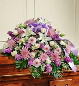 Cherished Memories in Lavender Half Casket Cover