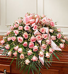 Cherished Memories in Pink Half Casket Cover in Gainesville, FL | PRANGE'S FLORIST