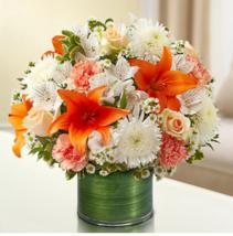 Cherished Memories - Peach, Orange and White Sympathy Arrangement