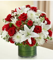 Cherished Memories™ Red and White Sympathy Arrangement