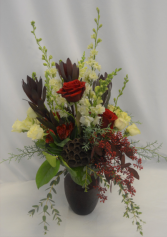 CHERISHED RUBY  FRESH FLOWERS VASED