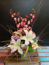 Cherry Blossom & Lily Forever Flower table arrang Silk table arrangement
