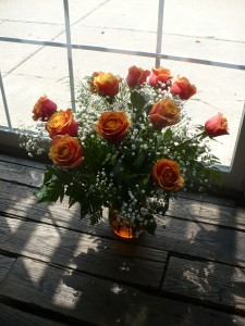 Cherry Brandy Roses Designed in bronze glass and Babies Breath 18