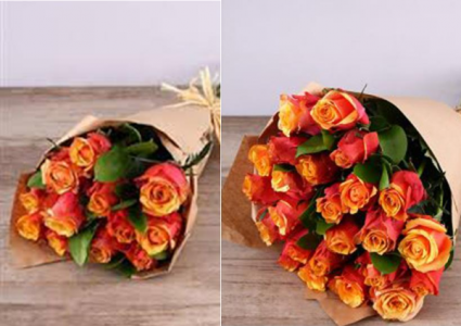 Orange Roses in Kraft Paper Roses, Wrapped