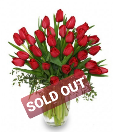 Cherry Red Tulips Arrangement