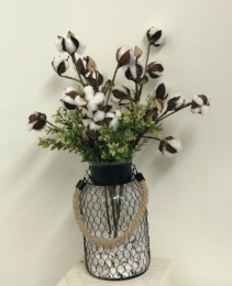 Chicken wire vase with cotton Silk Arrangement