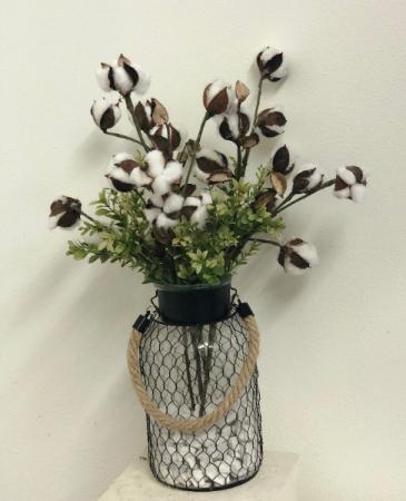 Chicken wire vase with cotton Silk Arrangement