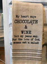 Chocolate and wine towel Dish towel