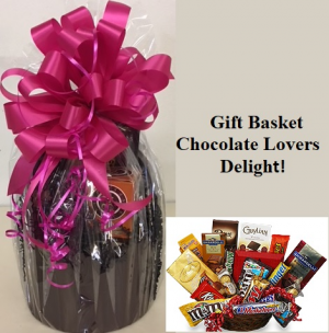 Chocolate Lovers Delight! Candy Bouquet with Assorted Chocolates.  Cello Wrapped Chocolate Hat Box in Plainview, TX | Kan Del's Floral, Candles & Gifts