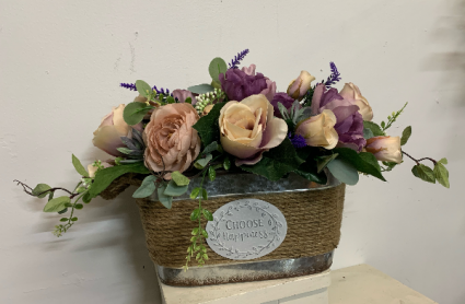 Choose Happiness in pink and purple (artificial)  Silk Arrangement