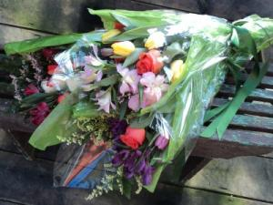 Chris' Pick; Bright Bouquet Wrapped Flowers in North Adams, MA | MOUNT WILLIAMS GREENHOUSES INC
