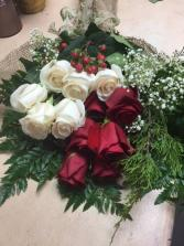 1 dozen  roses wrap fabric and ribbon