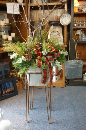 Christmas Arr in Large Galvanized Tub & Stand