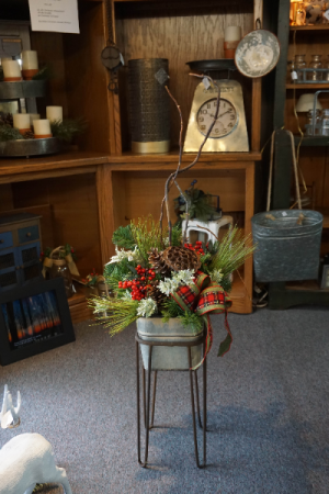 Christmas Arr in Small Galvanized Tub & Stand