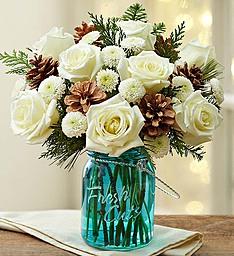 Wintry in Blue Winter Blooms in Blue Jardiniere
