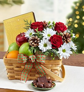 Country Bounty Woven Basket with Flowers, Fruit, & Chocolates