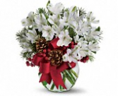 Christmas bowl vase arrangement