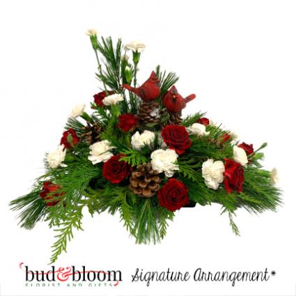 Christmas Cardinals Bud & Bloom Signature Arrangement