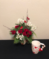 Christmas Cardinals Keepsake Mug Arrangement