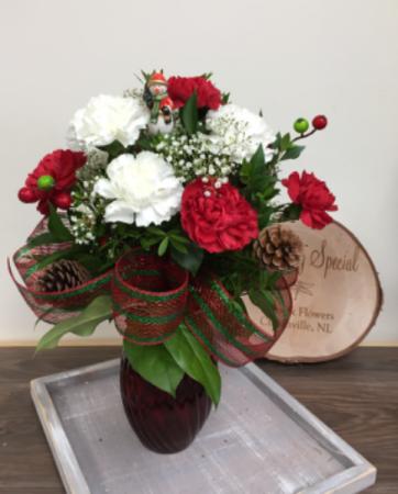 12 Christmas carnations Christmas vase